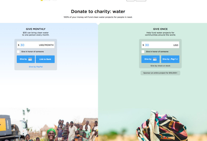 Charity water donations